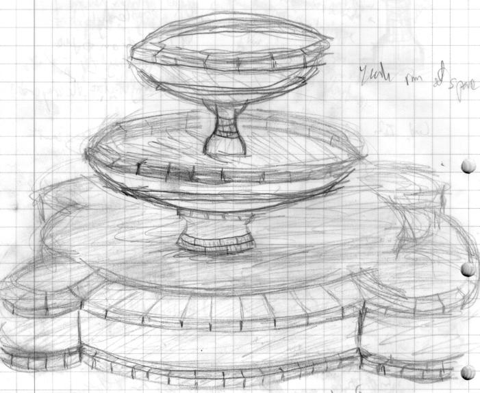 рисунок фонтана в парке карандашом тебя